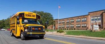 School Bus and Building