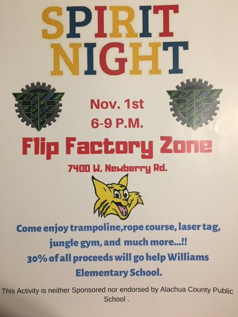 Spirit Night at flip factory November 1st from 6 to 9 pm