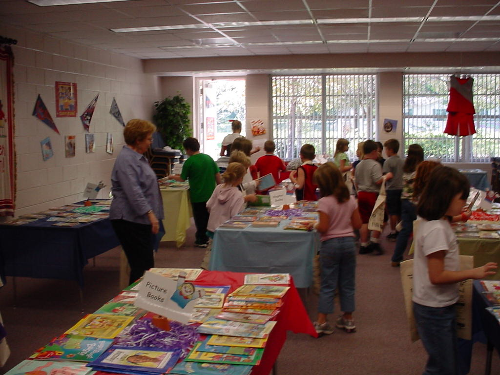 Pictures of students selecting books